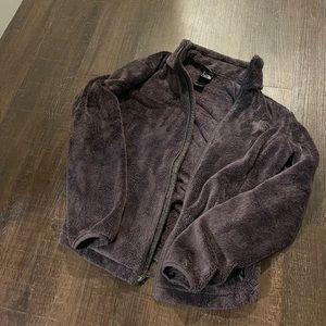 Purple gray fuzzy north face jacket